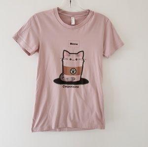 Cat Catpuccino funny cat t-shirt Starbucks pink M